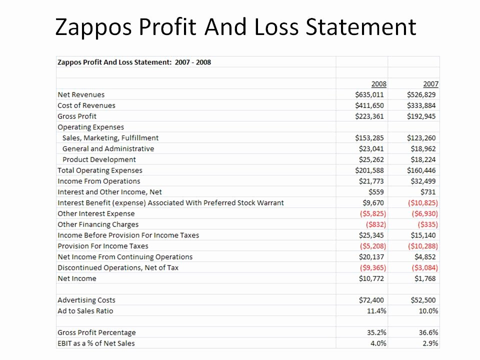 Profit Loss Statement Example Elegant Kevin Hillstrom Minethatdata Zappos Profit and Loss