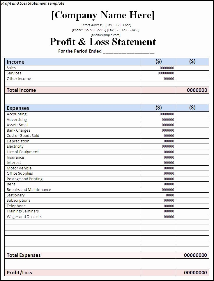Profit Loss Statement Example Inspirational Profit and Loss Statement Template