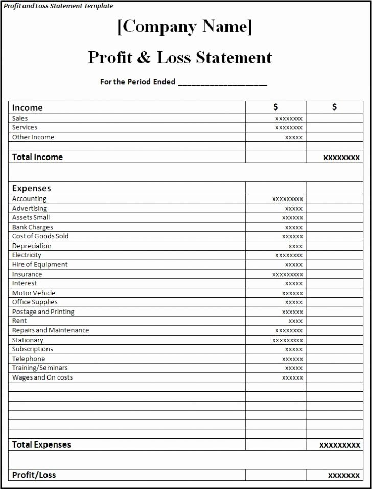 Profit Loss Statement Example Lovely Profit and Loss Statement Template Excel