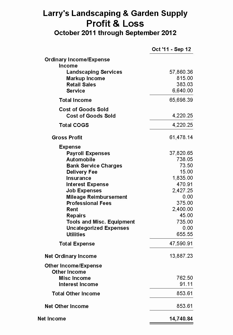 Profit Loss Statement Example Unique American River Bank Profit and Loss Statement