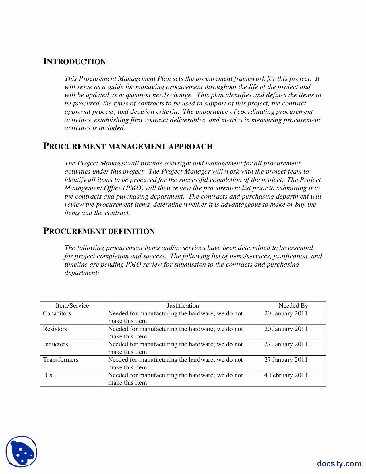 Project Management Plan Example Lovely Procurement Management Plan Example Engineering Project