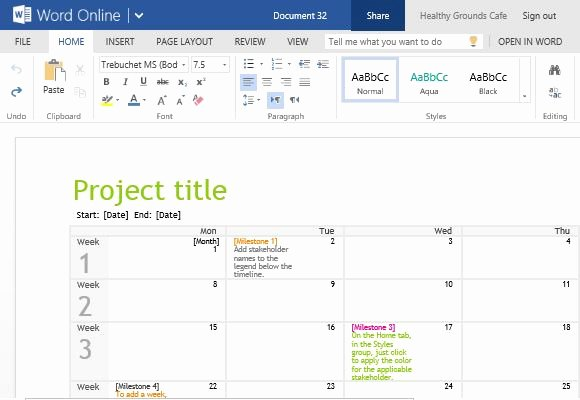 Project Timeline Template Word Luxury Project Planning Timeline Calendar for Word Line