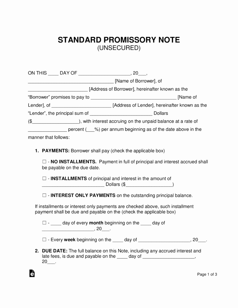 Promissory Notes Templates Free Beautiful Free Unsecured Promissory Note Template Word