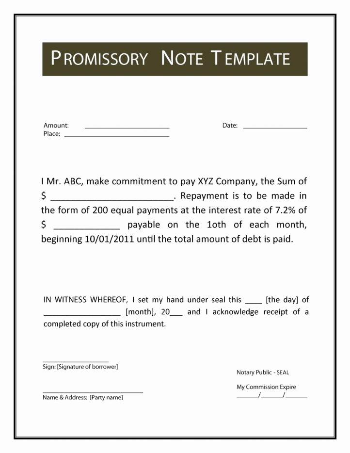 Promissory Notes Templates Free Beautiful Promissory Note Template