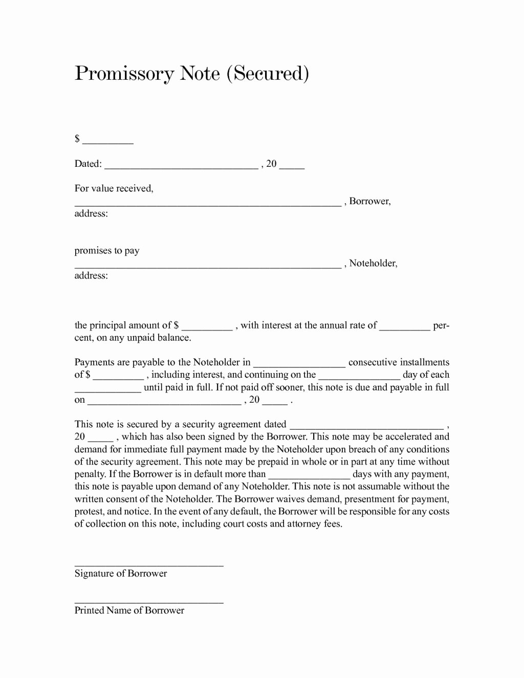 Promissory Notes Templates Free Elegant Blank and Fill Able Secured Promissory Note form Sample