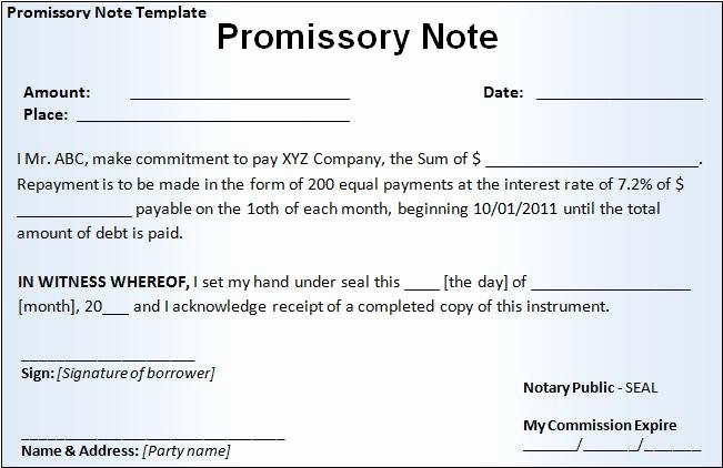 Promissory Notes Templates Free Elegant Promissory Note Template Free Word Templatesfree Word