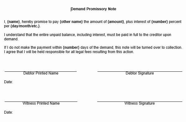 Promissory Notes Templates Free Unique Promissory Note form