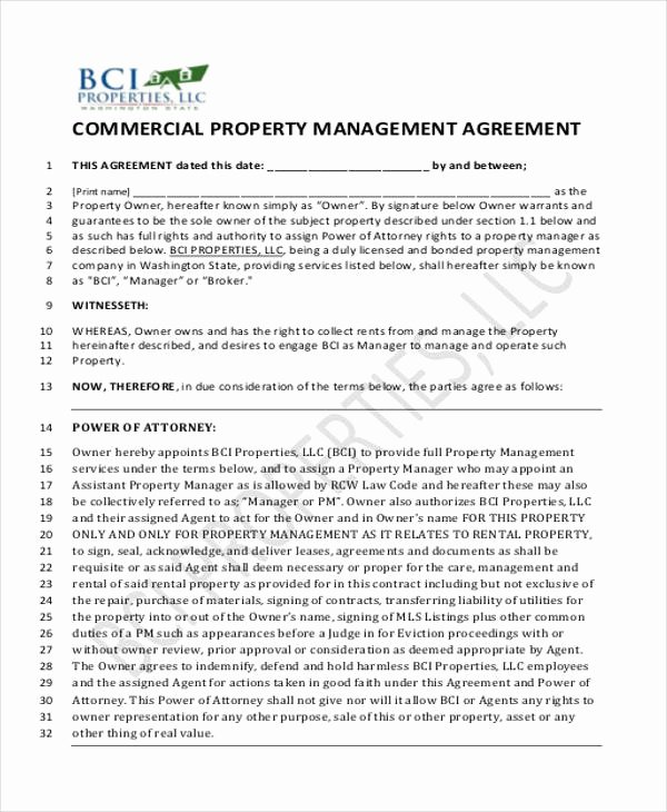 Property Management Agreement Pdf Beautiful 8 Sample Mercial Property Management Agreements Word