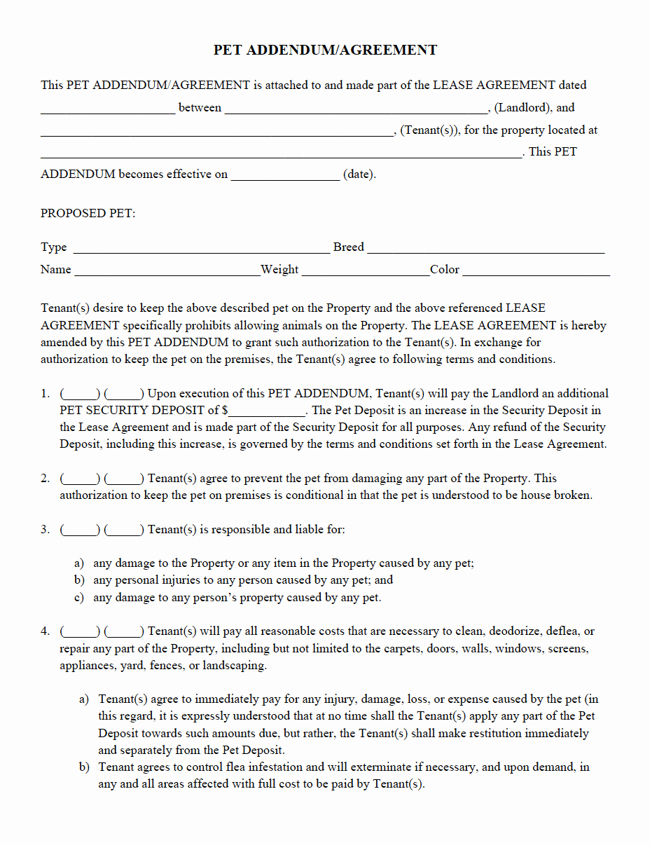 Property Management Agreement Pdf Elegant Pet Addendum Agreement Pdf
