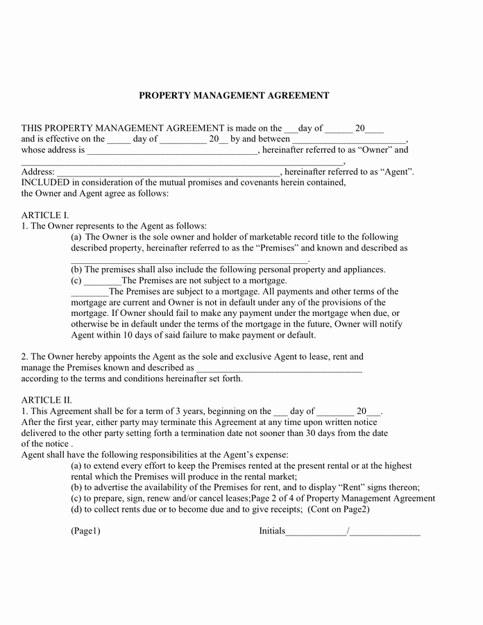 Property Management Agreement Pdf Fresh Property Management Agreement In Word and Pdf formats