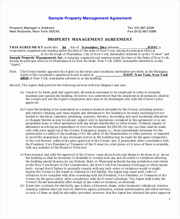 Property Management Agreement Pdf Inspirational 8 Sample Mercial Property Management Agreements Word