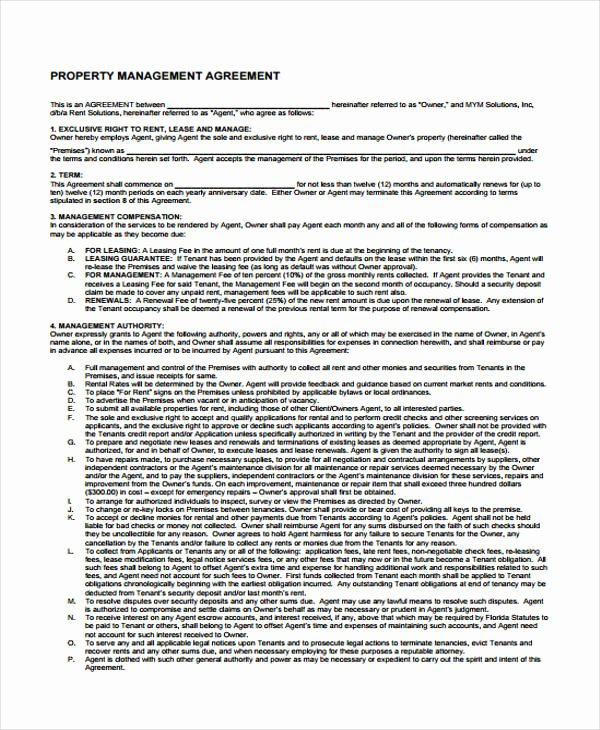 Property Management Agreement Pdf Inspirational Property Agreement form 11 Free Documents In Word Pdf