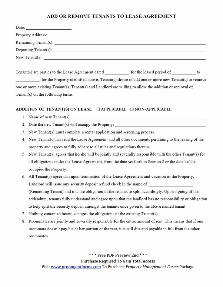Property Management Agreement Pdf Luxury Add or Remove Tenants to Lease Agreement Pdf