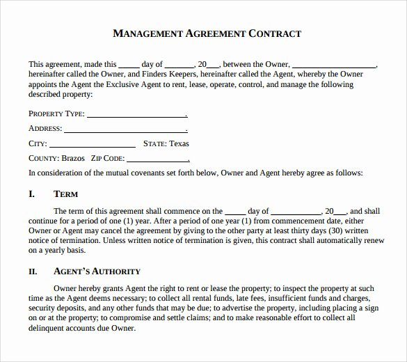 Property Management Agreement Pdf Luxury Sample Management Agreement 16 Free Documents In Pdf Word