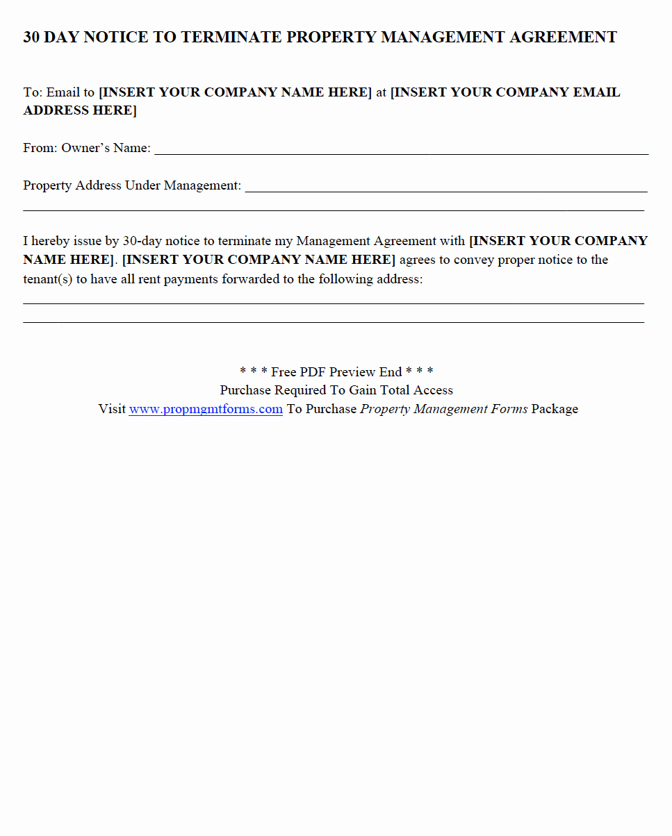 Property Management Agreement Pdf New 30 Day Notice to Terminate Property Management Agreement