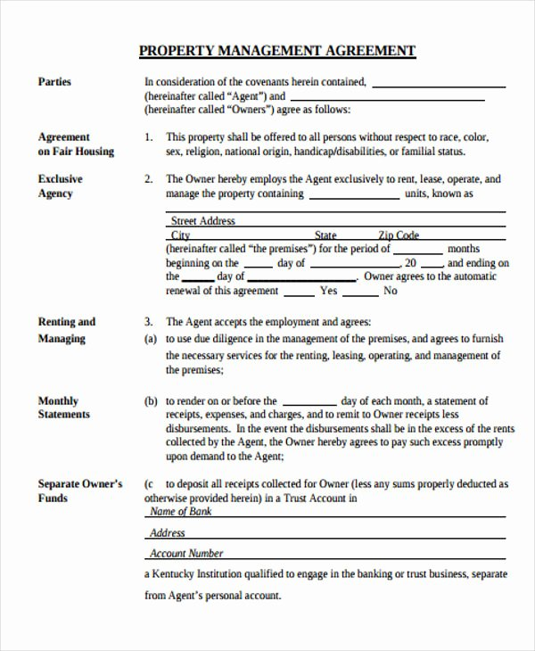 Property Management Agreement Pdf Unique 15 Management Agreement Templates Free Pdf Word format
