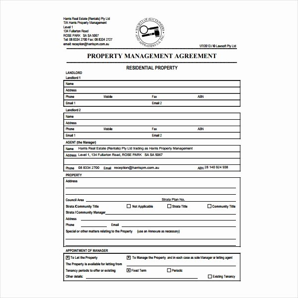 Property Management Agreement Pdf Unique 9 Property Management Agreement Templates Pdf Word