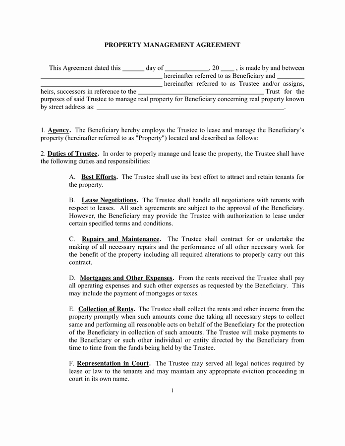 Property Management Agreement Pdf Unique Property Management Agreement Sample In Word and Pdf formats