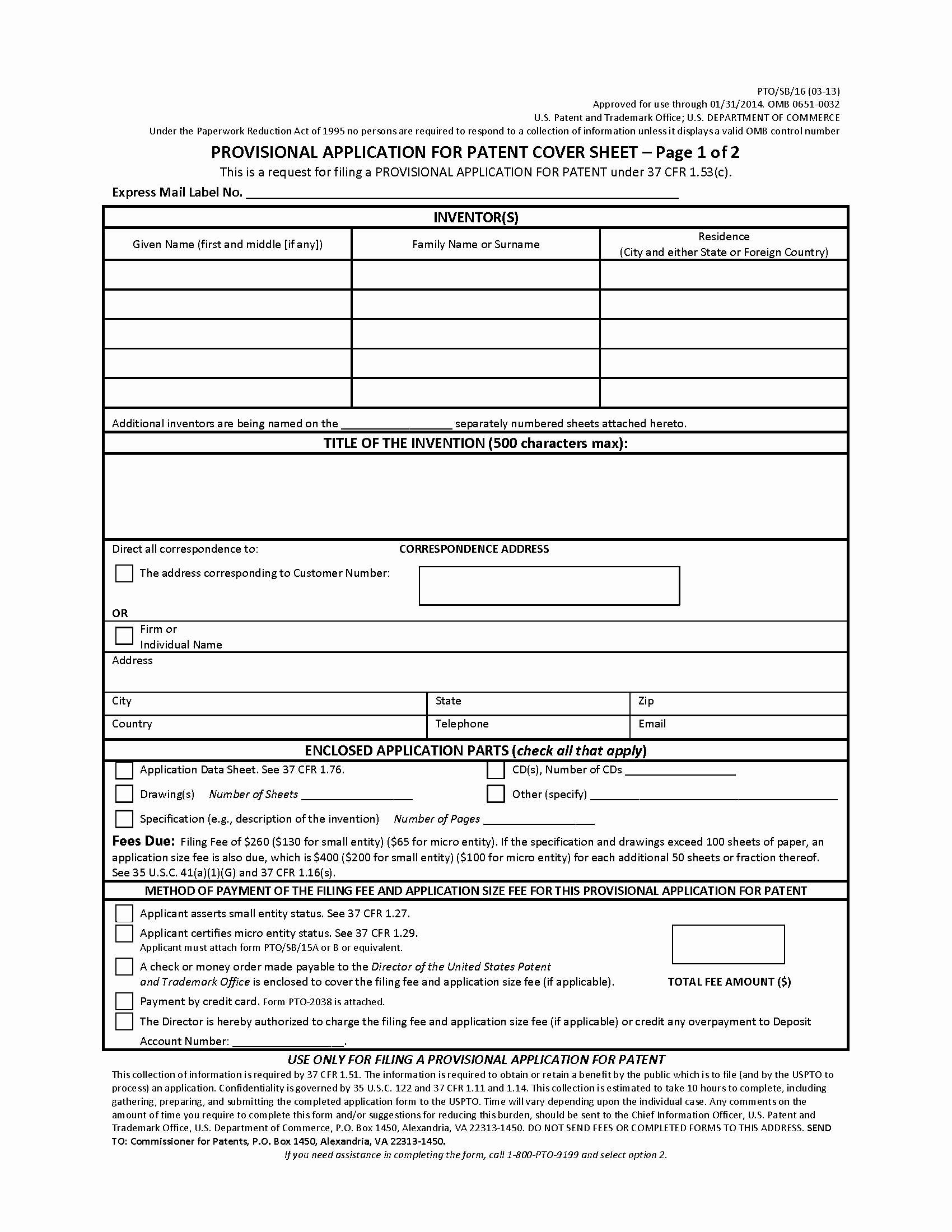 Provisional Patent Application form Awesome Mpep 201 04 Provisional Application Nov 2015 Bitlaw