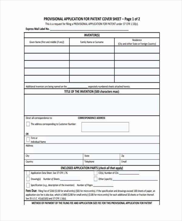 Provisional Patent Application form Beautiful Free 6 Patent Application Examples & Samples In Pdf