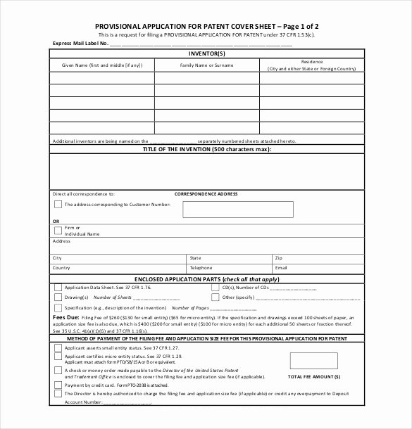 Provisional Patent Application form Beautiful Patent Application Template – 12 Free Word Pdf Documents