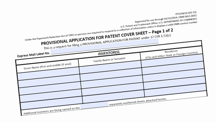 provisional patent application form strategy