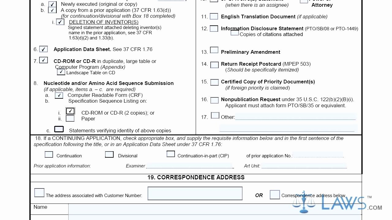 Provisional Patent Application form Best Of Utility Patent Application Transmittal Sb0005