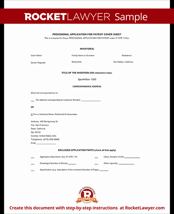 Provisional Patent Application form Elegant Provisional Patent Application form Free Template with