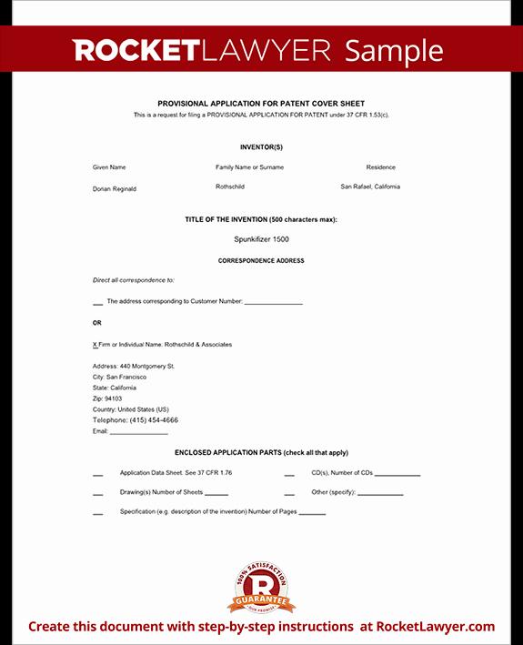 Provisional Patent Application form Elegant Provisional Patent Application form Free Template with