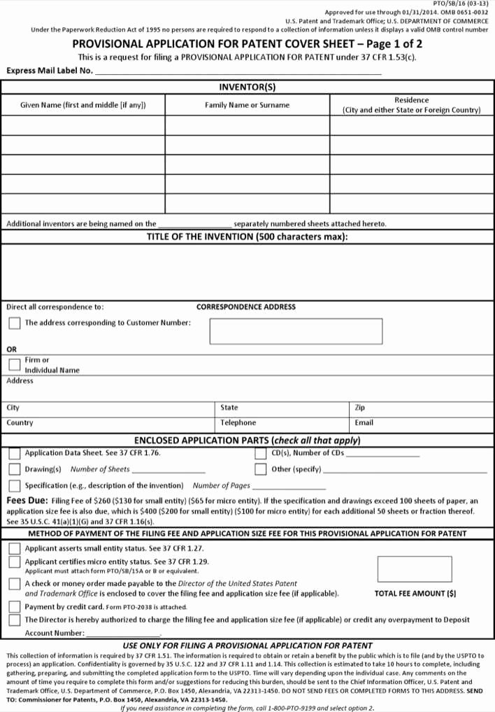 Provisional Patent Application form Fresh Download Patent Provisional Application form Pdf format