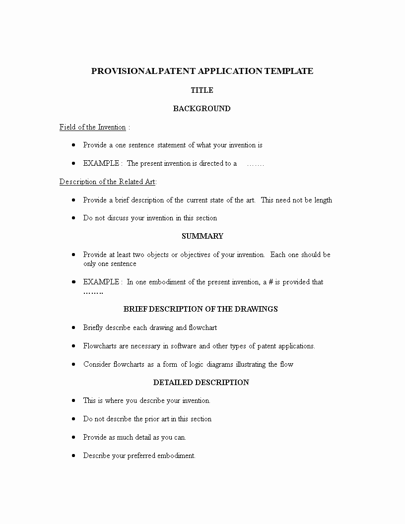 Provisional Patent Application form Fresh Provisional Patent Application Example