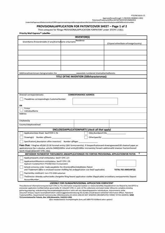 Provisional Patent Application form Unique Fillable form Pto Sb 16 Provisional Application for