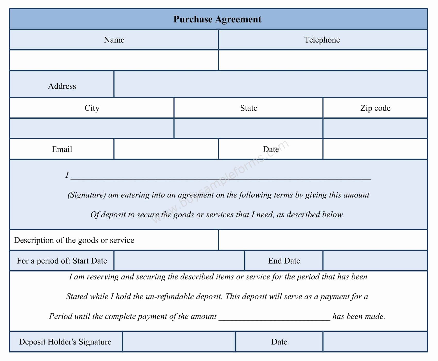 Purchase Agreement Template Word Inspirational Purchase Agreement form Template Sample forms