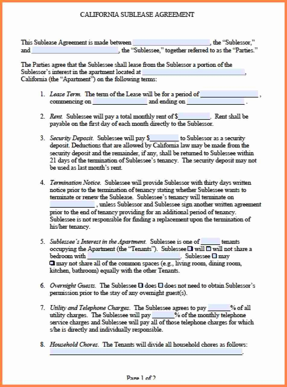 Purchase Agreement Template Word Luxury 5 Mercial Sublease Agreement Template Word