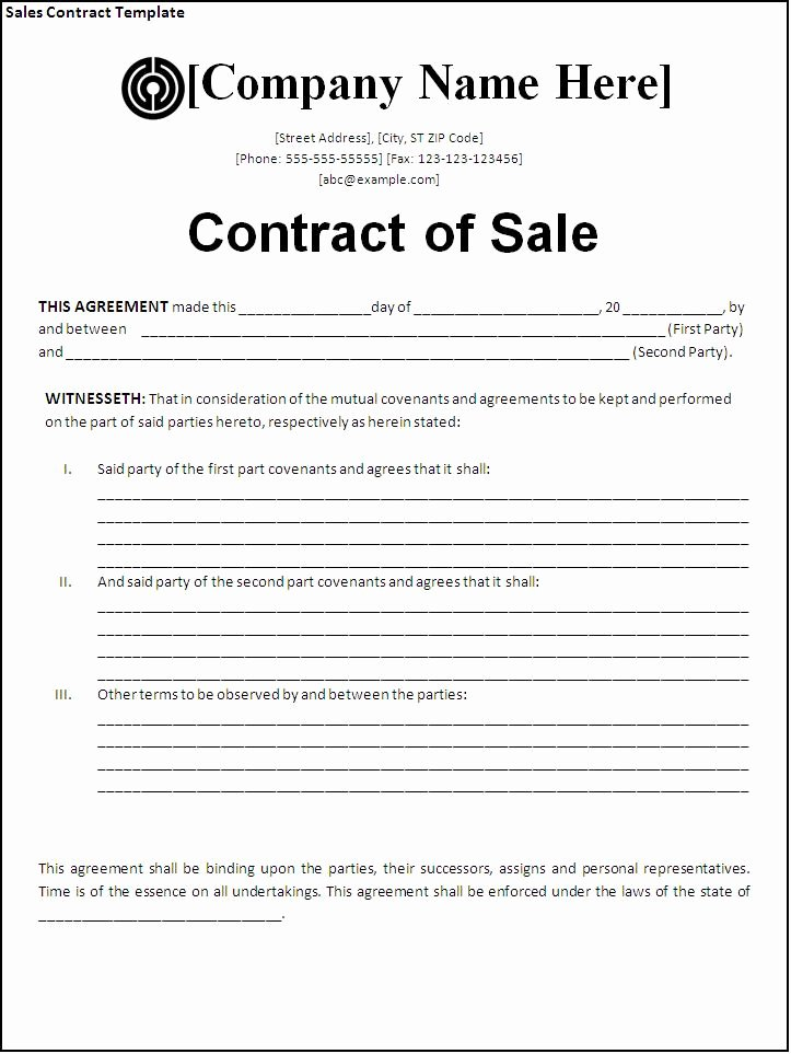 Purchase Agreement Template Word Luxury Sales Agreement Template Word