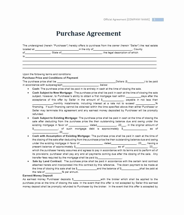 Purchase Agreement Template Word New 37 Simple Purchase Agreement Templates [real Estate Business]