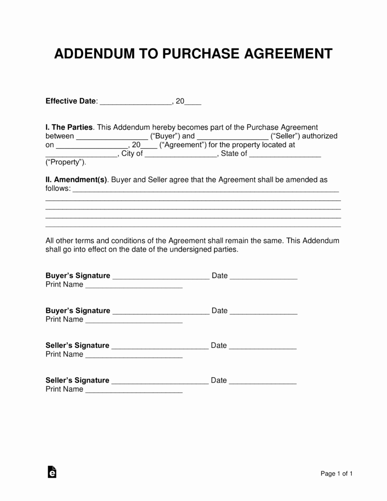 Purchase Agreement Template Word Unique Free Purchase Agreement Addendums & Disclosures Word