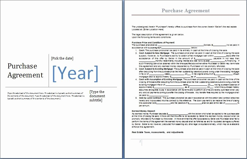Purchase Agreement Template Word Unique Ms Word Purchase Agreement form Template