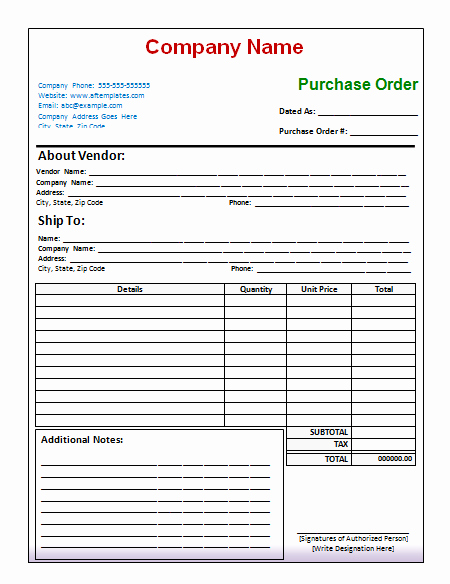 Purchase order Template Word Fresh 40 Free Purchase order Templates forms