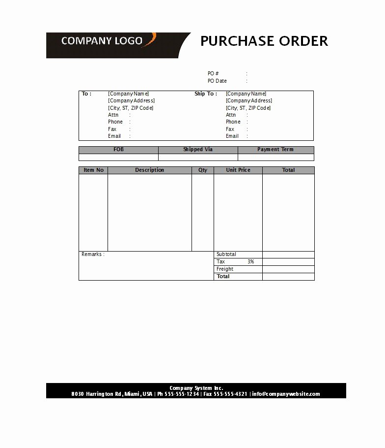 Purchase order Template Word Inspirational 39 Free Purchase order Templates In Word & Excel Free
