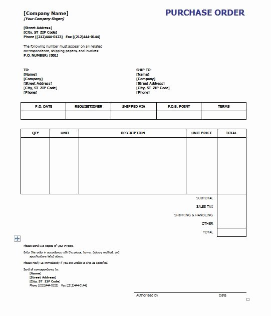 Purchase order Template Word Inspirational Purchase order Template 8 Free Excel Word Template
