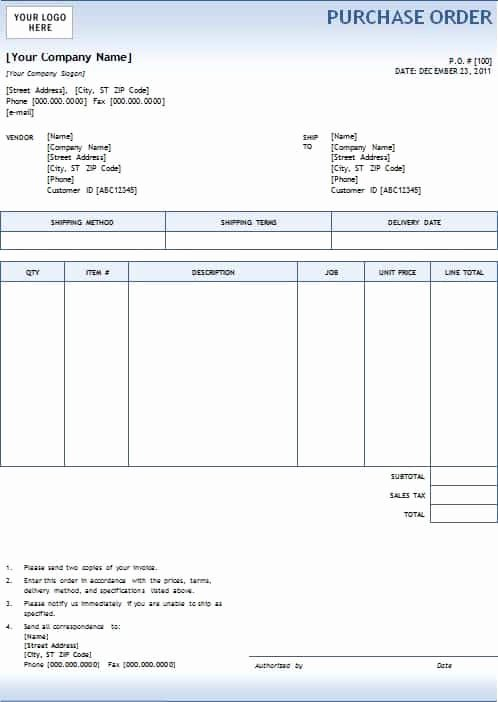 Purchase order Template Word Unique 5 Purchase order Templates Excel Pdf formats