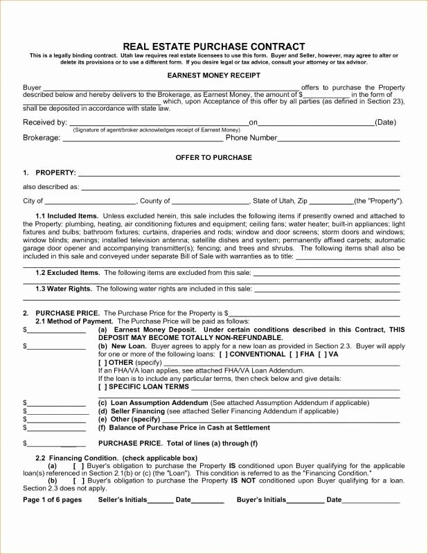 Real Estate Contract Template Beautiful Real Estate Purchase Contract