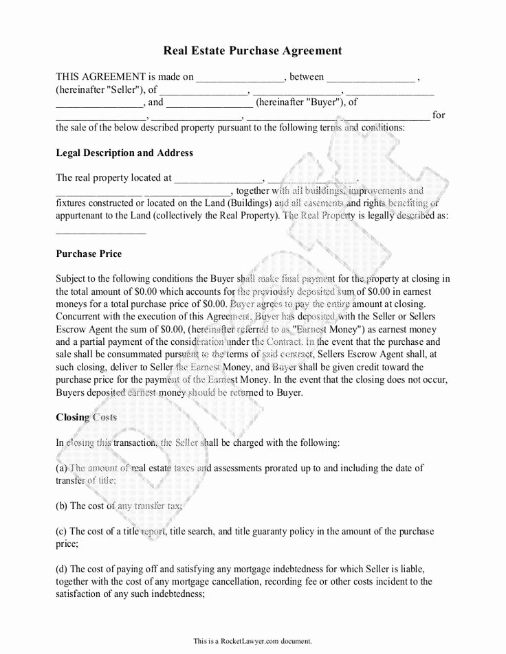 Real Estate Contract Template Best Of Real Estate Purchase Agreement form Free Templates with