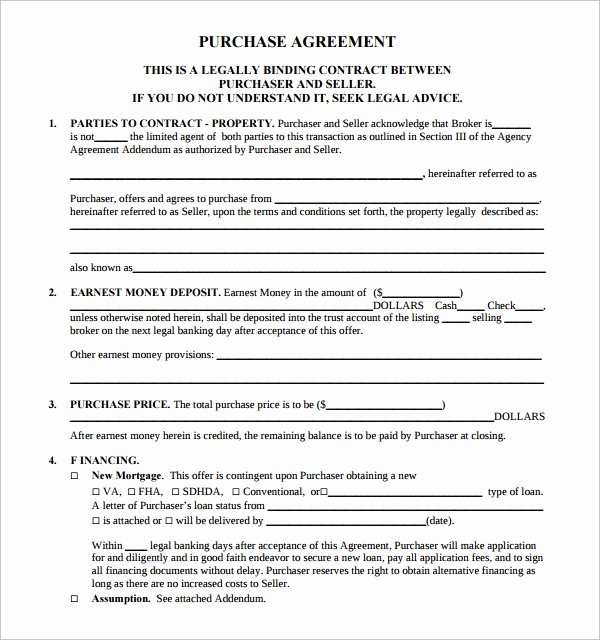 Real Estate Contract Template Elegant Free 14 Sample Real Estate Purchase Agreement Templates
