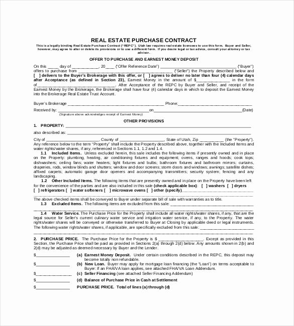 Real Estate Contract Template Fresh Real Estate Purchase Contract format 23 Simple Contract