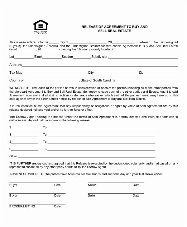 Real Estate Contract Template Inspirational Sample Contract Release form 10 Examples In Word Pdf