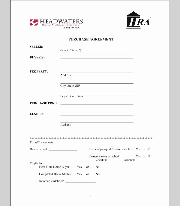 Real Estate Contract Template Luxury Purchase Agreement for House