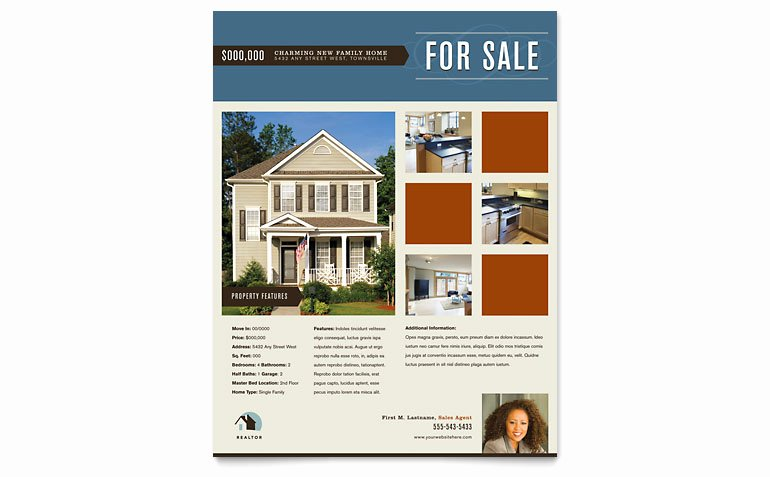 Real Estate Flyer Templates Lovely Residential Realtor Flyer Template Word & Publisher