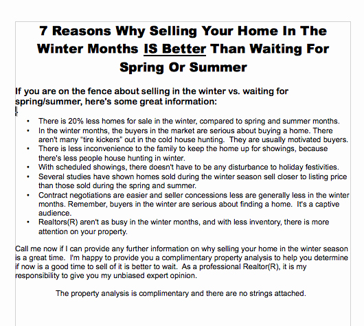 Real Estate Marketing Flyers New Real Estate Marketing Ideas why Winter is A Great Time